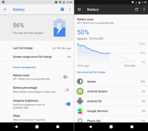 Android O (left) vs Android N (right) - Battery