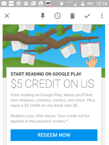 Save $5 on your first book purchase of more than $5 from Google Play - Google is sending out $5 credit coupons to be used on your first book purchase on Google Play