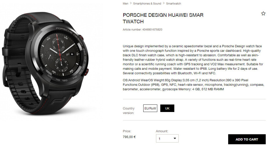 Porsche Design Huawei Watch 2 launched in Europe for a hefty price