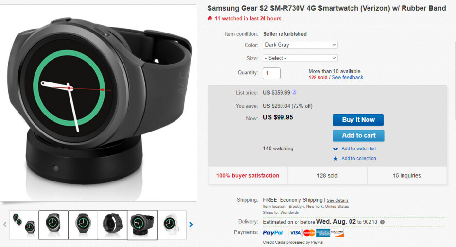 Deal: Samsung Gear S2 costs less than $100 on eBay (Verizon model)