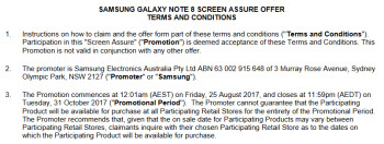 Samsung Australia leaks Screen Assure promotion for the Samsung Galaxy Note 8