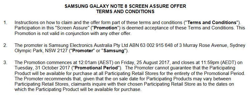 "Samsung Australia leaks Screen Assure promotion for the Samsung Galaxy Note 8 - Samsung Australia reveals ""Screen Assure"" free Galaxy Note 8 screen repair; launch date August 25th?"