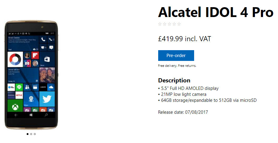 Microsoft still struggling to get the Alcatel Idol 4 Pro into the hands of customers