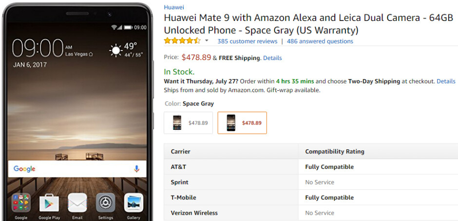 Huawei Mate 9 now costs less than $500