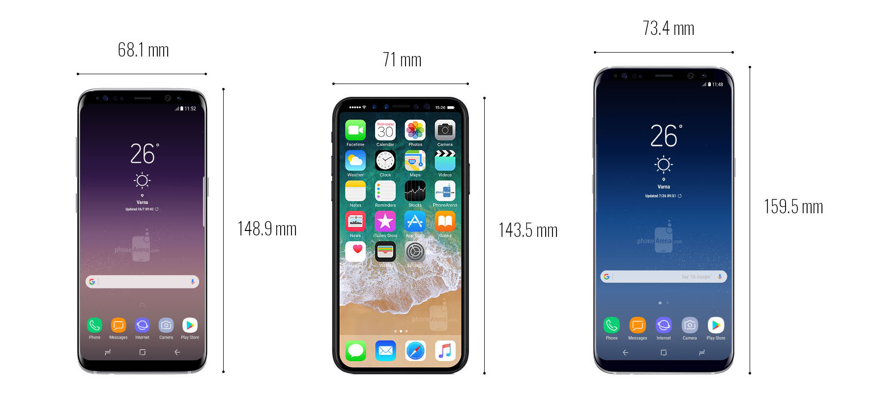 Samsung Galaxy S8 Vs Iphone 7 Size