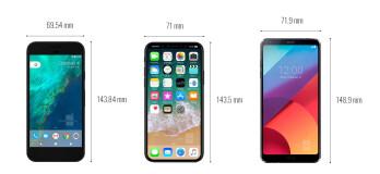 iPhone 8 vs iPhone 7/7Plus, Galaxy S8/S8+, LG G6, Google Pixel: size comparison
