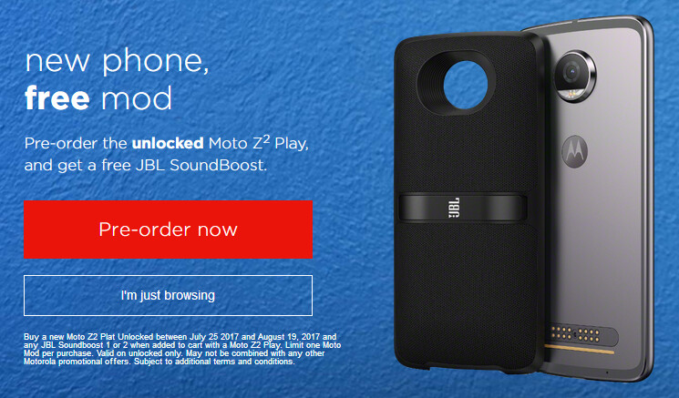 Unlocked Moto Z2 Play 64 GB officially available to pre-order, free JBL SoundBoost Moto Mod included