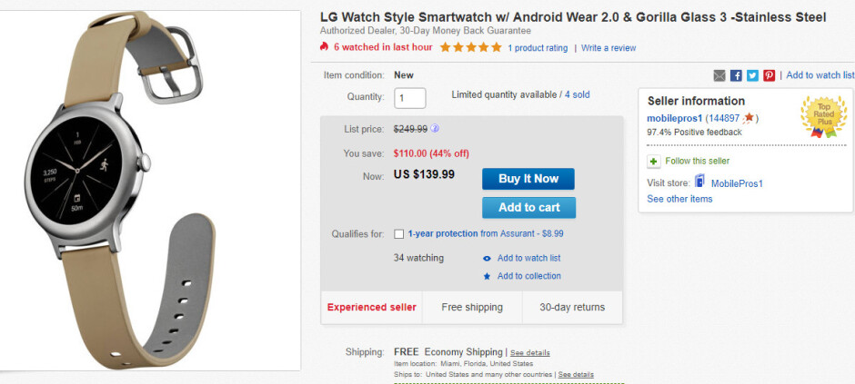 Deal: LG Watch Style is nearly 45% off on eBay, buy one for just $139.99