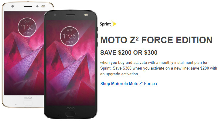 Deal: Save up to $300 on Sprint's Moto Z2 Force
