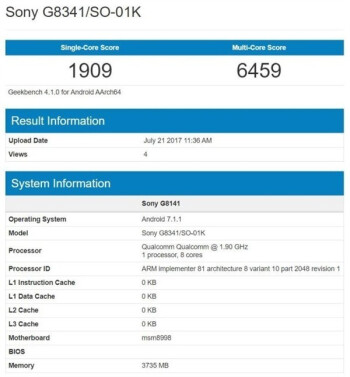 Sony Xperia XZ1 (Sony G8341) spotted in benchmark with Snapdragon 835 CPU, 4GB RAM