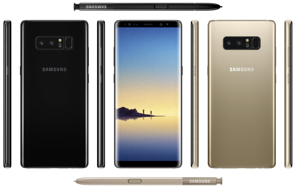 Here is the Galaxy Note 8 from all four sides, complete with S Pen and a new color option