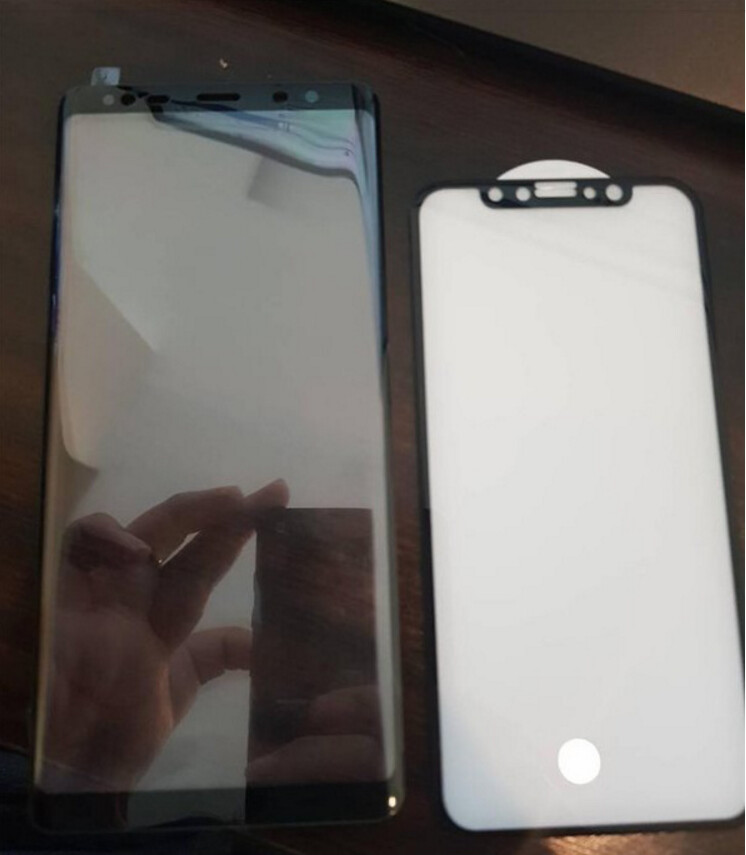 Leaked Note 8 vs iPhone 8 screen protectors size up the eventual dimensions
