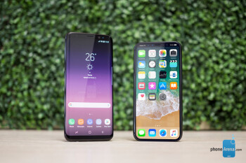 Galaxy S8 next to an iPhone 8, render ours
