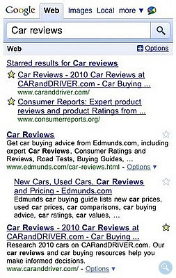 Google searching is now accompanied with marked stars feature
