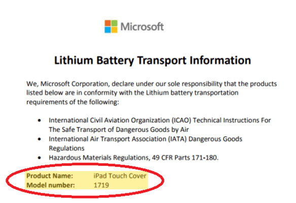 Microsoft document about Lithium batteries mentions a Microsoft Touch Cover for the Apple iPad - Document seems to reveal a Microsoft built Touch Cover for the Apple iPad