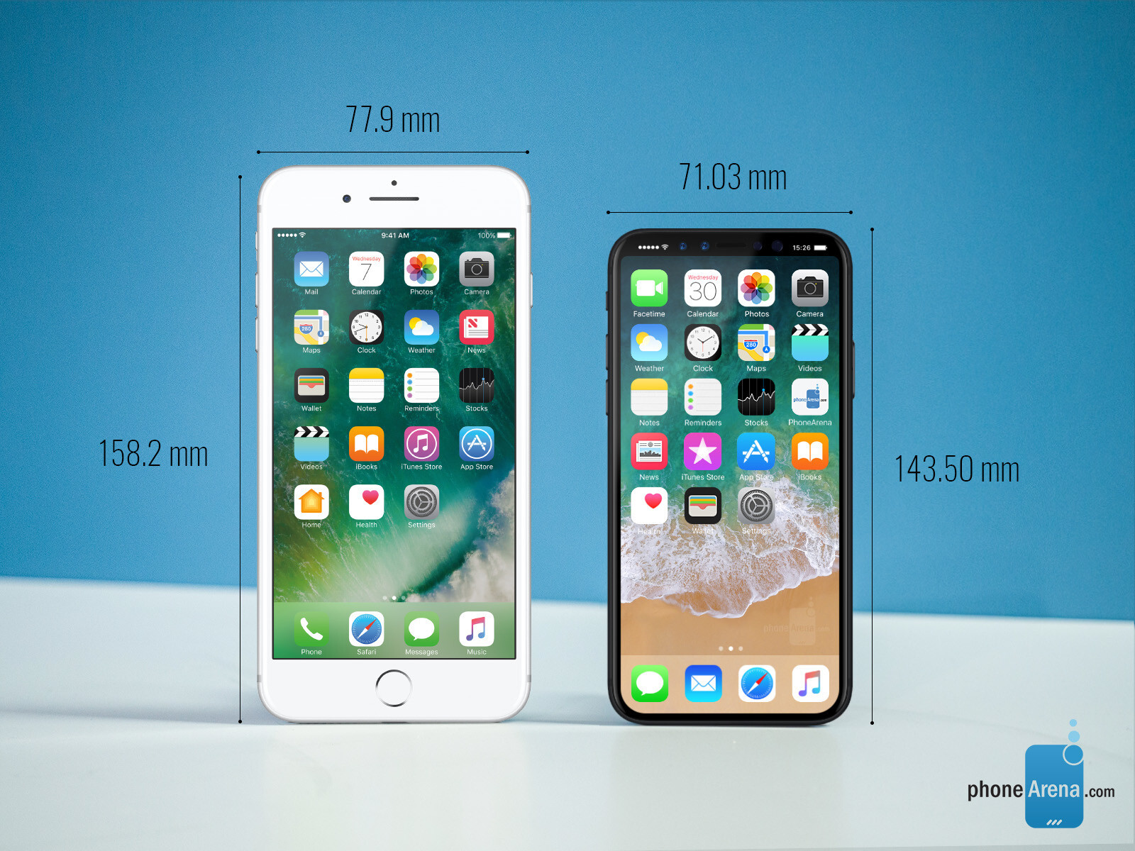 Apple iPhone 7 Plus vs Apple iPhone 8 size comparison