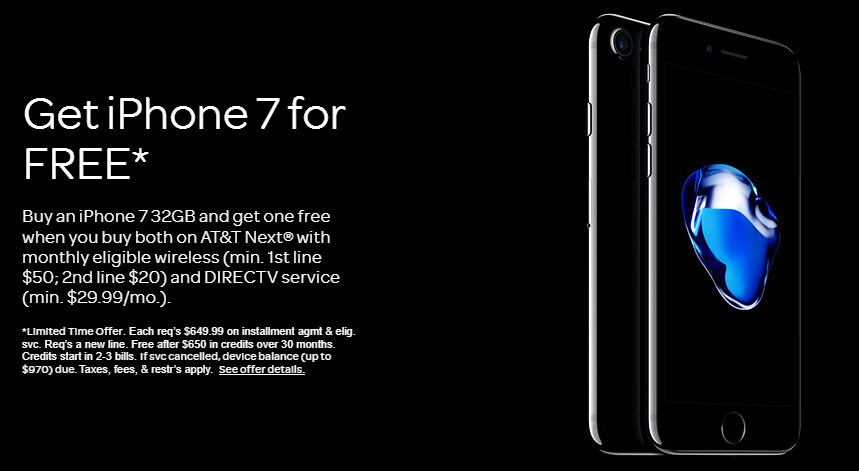 249fa324174d7a AT&T offers BOGO deal on iPhone 7 or free iPad when you switch to DirecTV