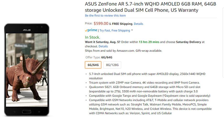 Unlocked Asus ZenFone AR is cheaper on Amazon than the Verizon-bound model