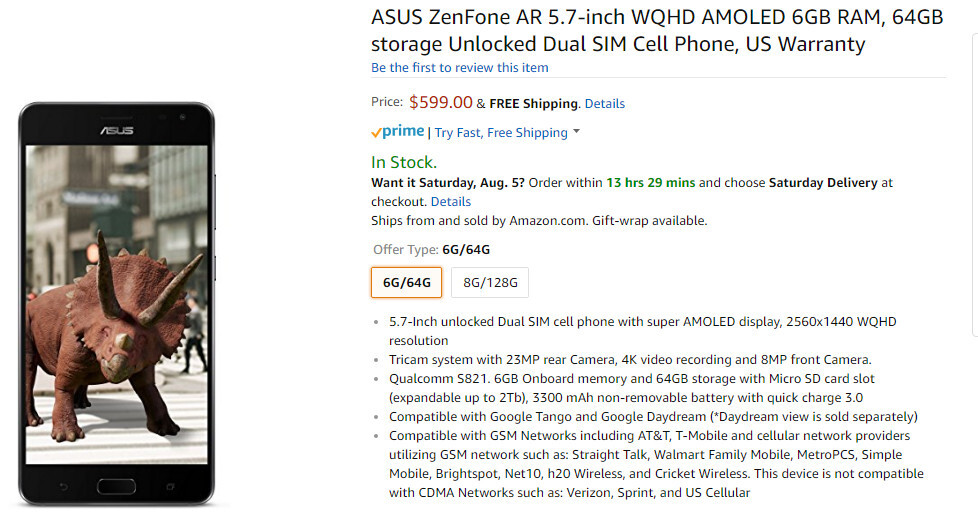 Unlocked Asus ZenFone AR is cheaper on Amazon than the