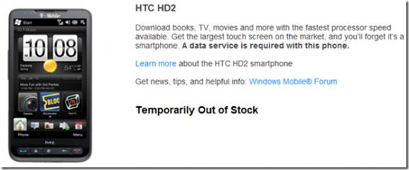 HTC HD2 once again sold out on T-Mobile's web site