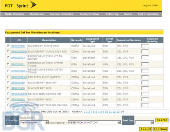Sprint order forms show BlackBerry 9650 and 8230, Motorola ES400 and more