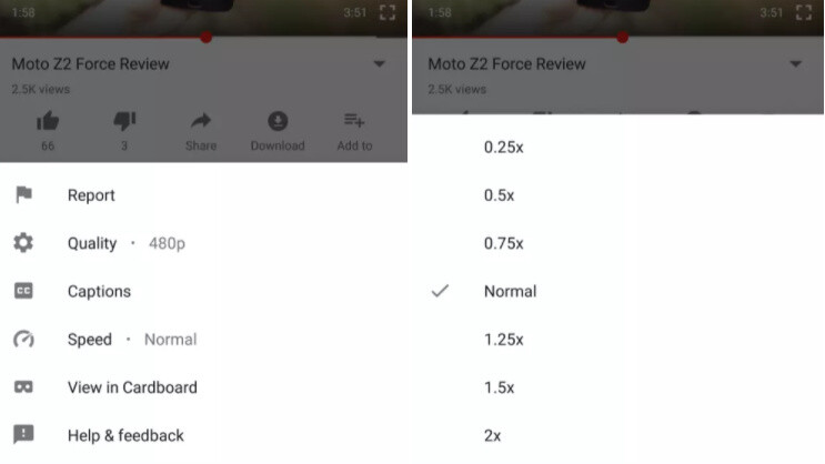 Speed controls now appear as an option in the dots menu on YouTube for Android, version 12.29.57 - YouTube for Android rolls out speed controls for video playback on some devices