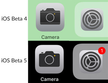 Settings, Camera now have redesigned icons