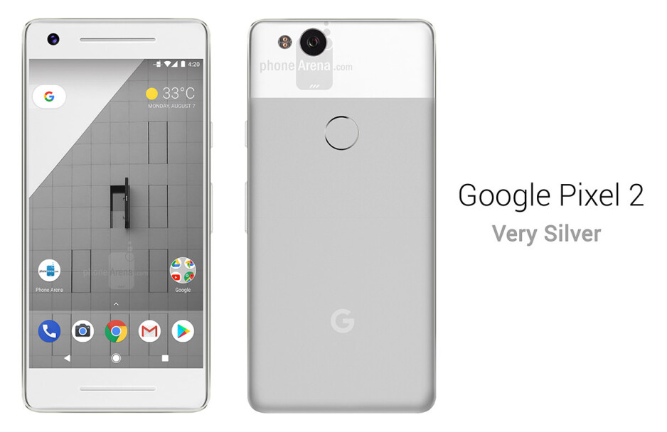 Google Pixel 2 in Very Silver - See the Google Pixel 2 from all angles, in different colors!