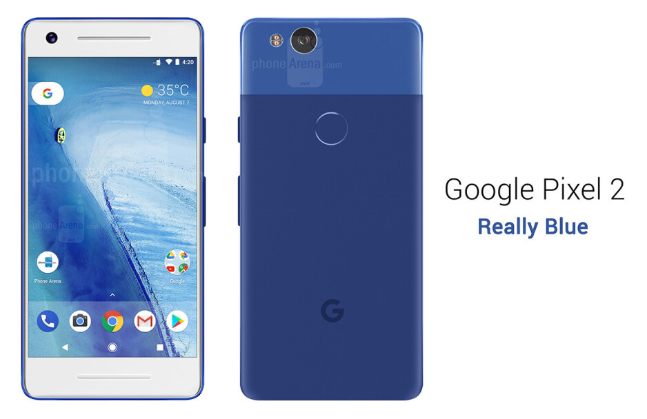 Google Pixel 2 in Really Blue - See the Google Pixel 2 from all angles, in different colors!