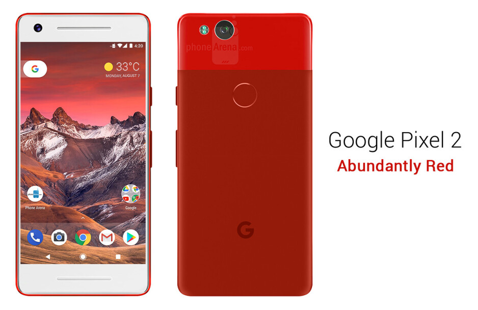 Google Pixel 2 in Abundantly Red - See the Google Pixel 2 from all angles, in different colors!