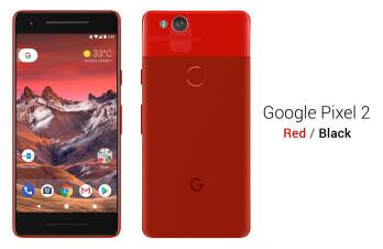 Google Pixel 2 in red on black