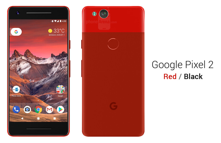 Google Pixel 2 in red on black - See the Google Pixel 2 from all angles, in different colors!