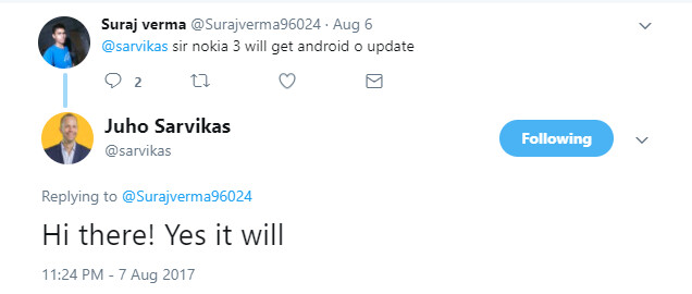 Yes, the cheap Nokia 3 will enjoy continued support: Android O update confirmed for the future
