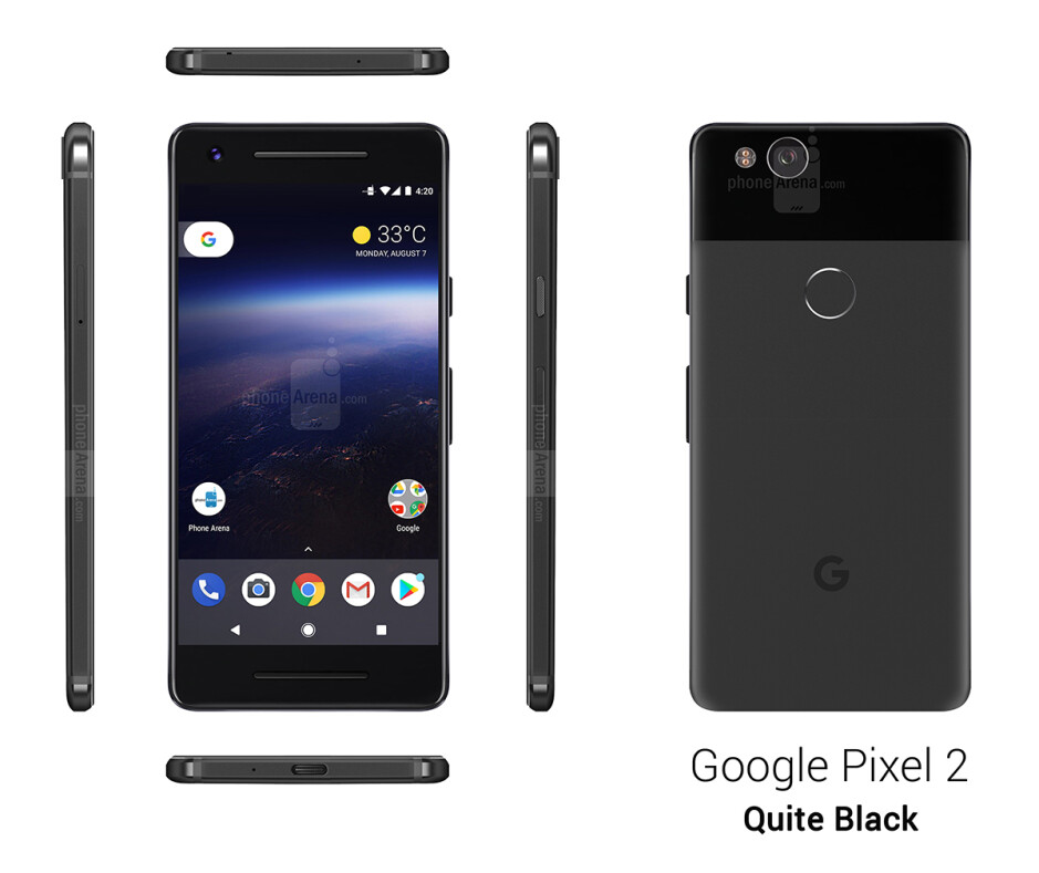 Google Pixel 2 in Quite Black - See the Google Pixel 2 from all angles, in different colors!