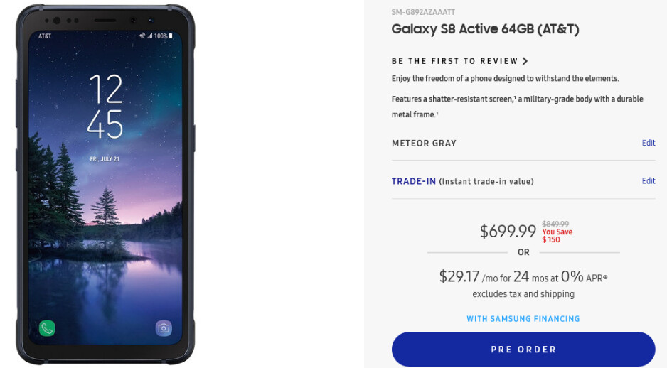 Deal: Samsung lets you buy the Galaxy S8 Active for $699.99 ($150 off)