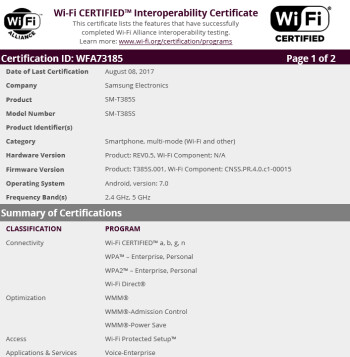 New version of the Samsung Galaxy Tab E 8.0 receives its Wi-Fi certification