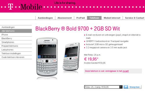 T-Mobile Netherlands lands the BlackBeryy Bold 9700 in white