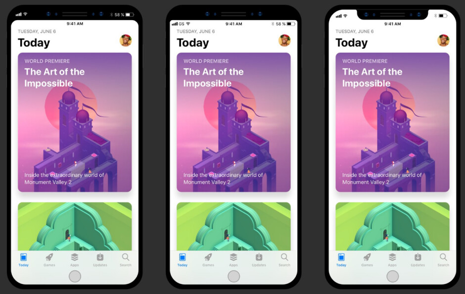 """This iPhone 8 interface concept envisions three scenarios to fit the """"notch"""" and the virtual home button - Code reveals how the iPhone 8's resizable home key could look, tips 240fps slow-mo at 1080p"""