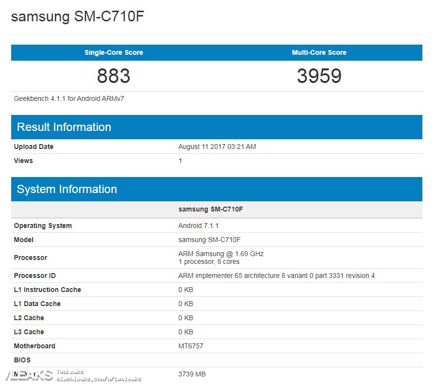 Samsung Galaxy C7 spotted on Geekbench - Mid-range Galaxy C7 spotted on Geekbench with a Helio P20 chipset and 4GB of RAM