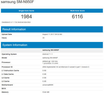 The Samsung Galaxy Note 8 appears on Geekbench
