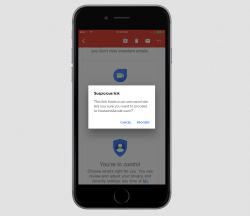 Gmail for iOS now will warn users when they are the victims of a phishing attempt