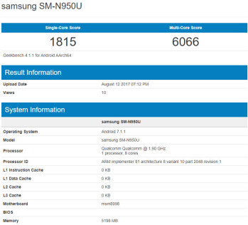 Samsung Galaxy Note 8 with Snapdragon 835 SoC gets benchmarked