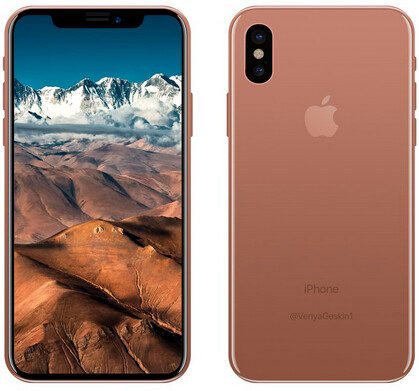 """Render of the Bush Gold Apple iPhone 8 - Apple iPhone 8 to be offered in """"Blush Gold""""?"""