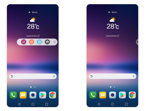 LG V30 Floating Bar and always-on display
