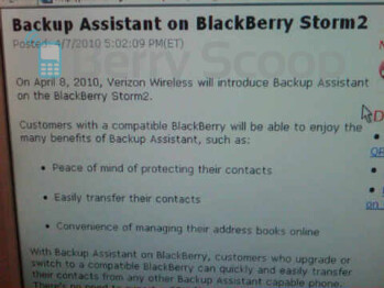 Verizon's BlackBerry Storm2 to get Backup Assistant today?