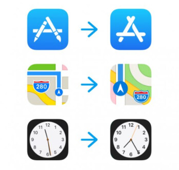 Current icons at left and the new version on right