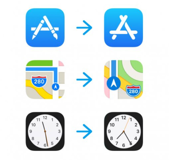 Current icons at left and the new version on right - New iOS 11 icons surface for Apple Maps, App Store and Clock; iOS 11 beta 6 is released