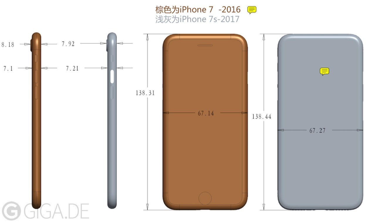 leaked iphone 7s dimensions show a larger thicker chassis