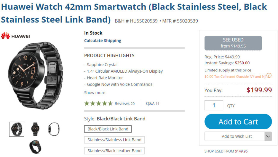 Deal: Get the Huawei Watch for just $199.99 (55% off) at B&H