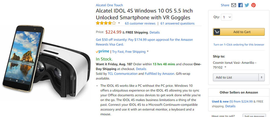 Deal: Alcatel Idol 4S with Windows 10 drops to $225 on Amazon
